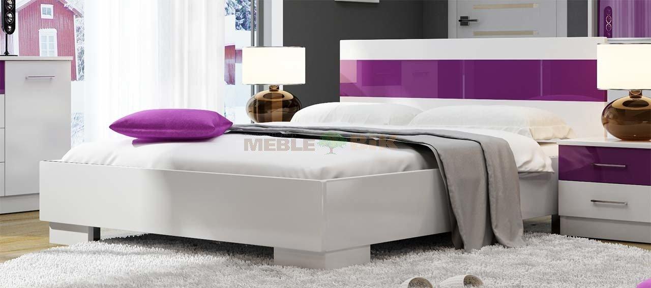 łóżko Dubaj Białe 160x200 Do Sypialni Z Wstawkami Szkła