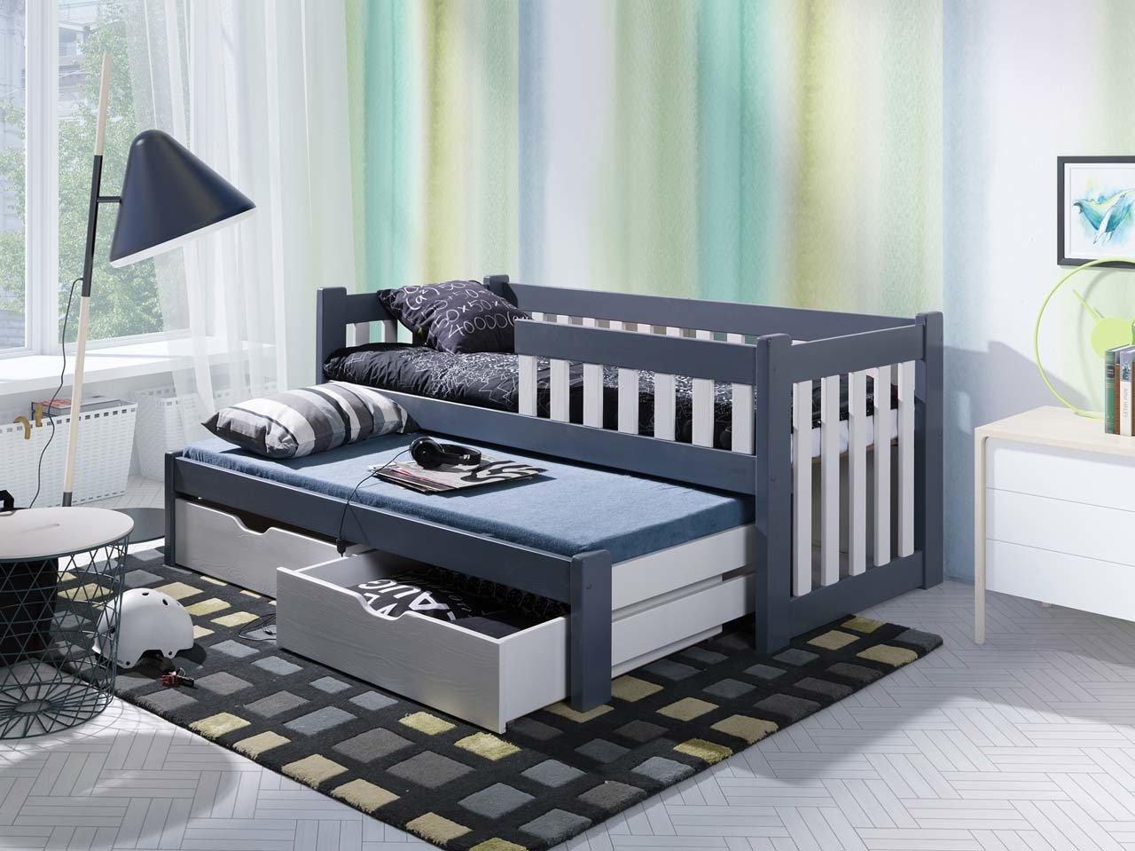 łóżko Filip Ii Dwuosobowe Z Barierką Jednopoziomowe Z Materacami