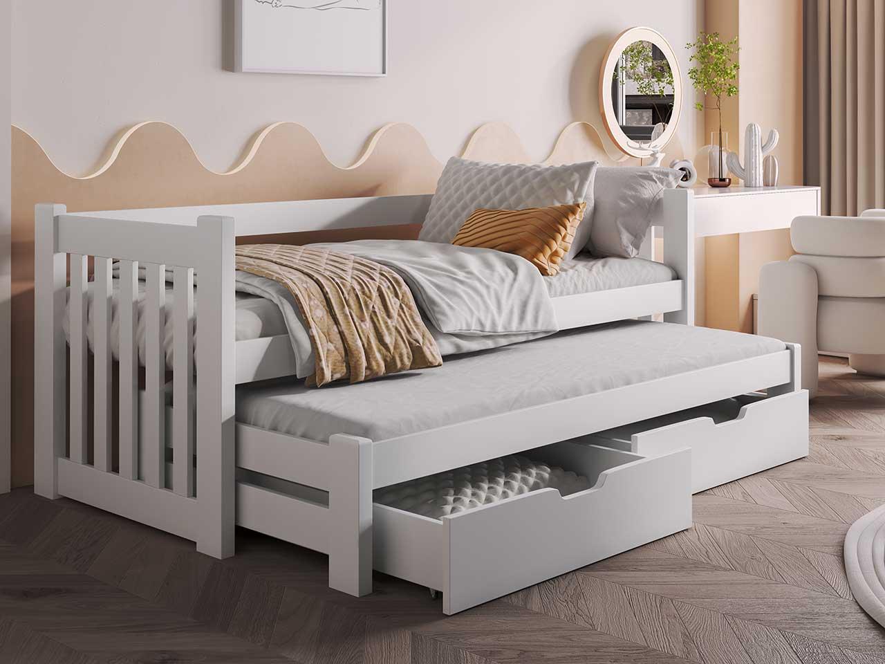 łóżko Filip Dwuosobowe Wysuwane Jednopoziomowe Z Materacami
