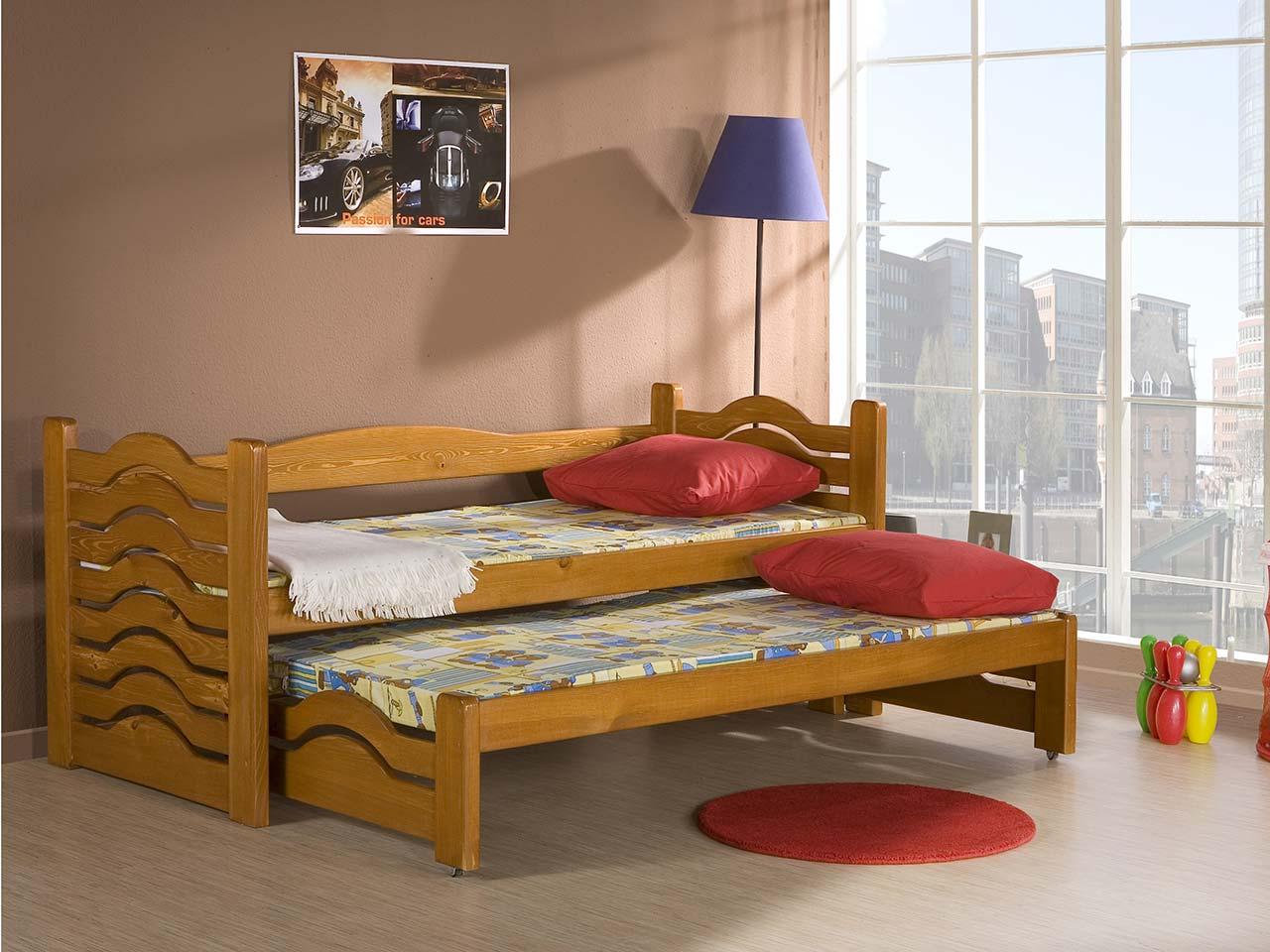 łóżko Mikołaj 2 Osobowe Piętrowe Niskie Z Materacami