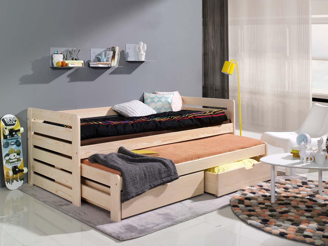 łóżko Tomasz Piętrowe Niskie 2 Osobowe Z Materacami