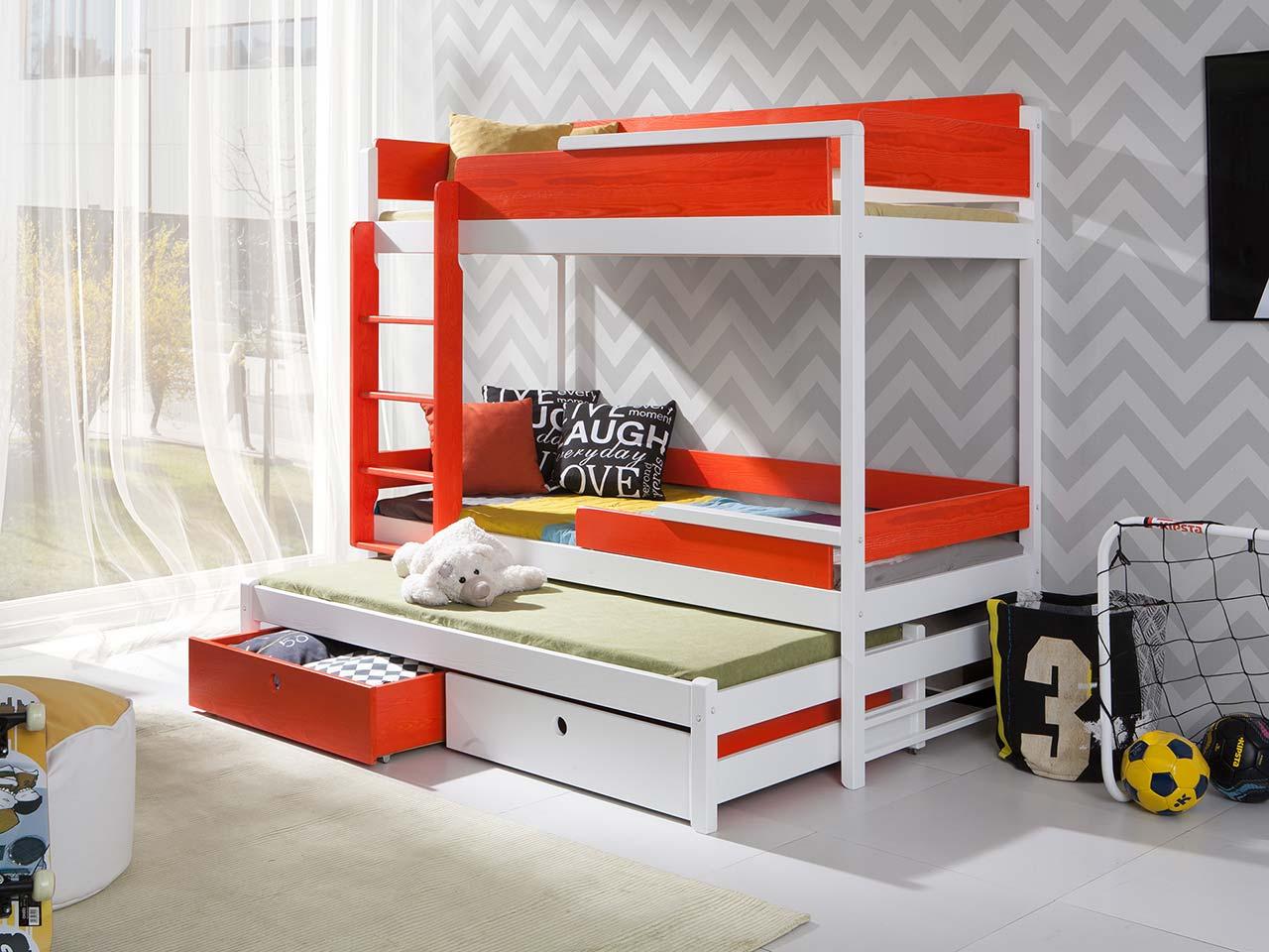 łóżko Piętrowe 3 Osobowe Z Materacami Natu Iii Do Pokoju