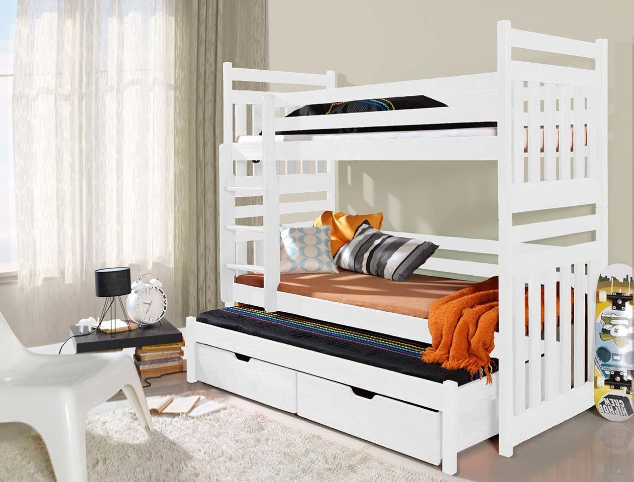 łóżko Piętrowe 3 Osobowe Z Materacami Sambor Do Pokoju