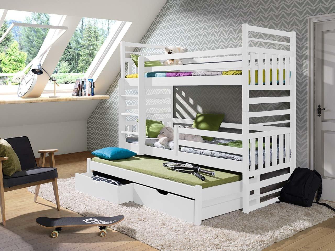 łóżko Piętrowe Hipolit 3 Osobowe Do Pokoju Młodzieżowego Z Materacami
