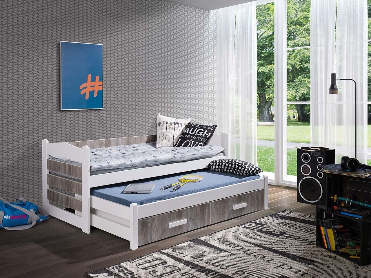 łóżko Piętrowe Niskie 2 Osobowe Do Pokoju Młodzieżowego Z Materacami