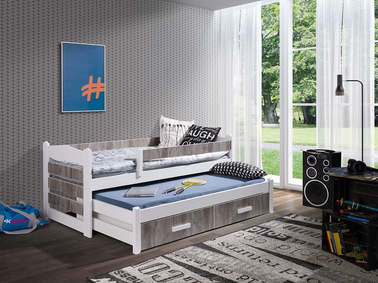 łóżko Piętrowe Niskie 2 Osobowe Z Barierką Do Pokoju Młodzieżowego Z Materacami