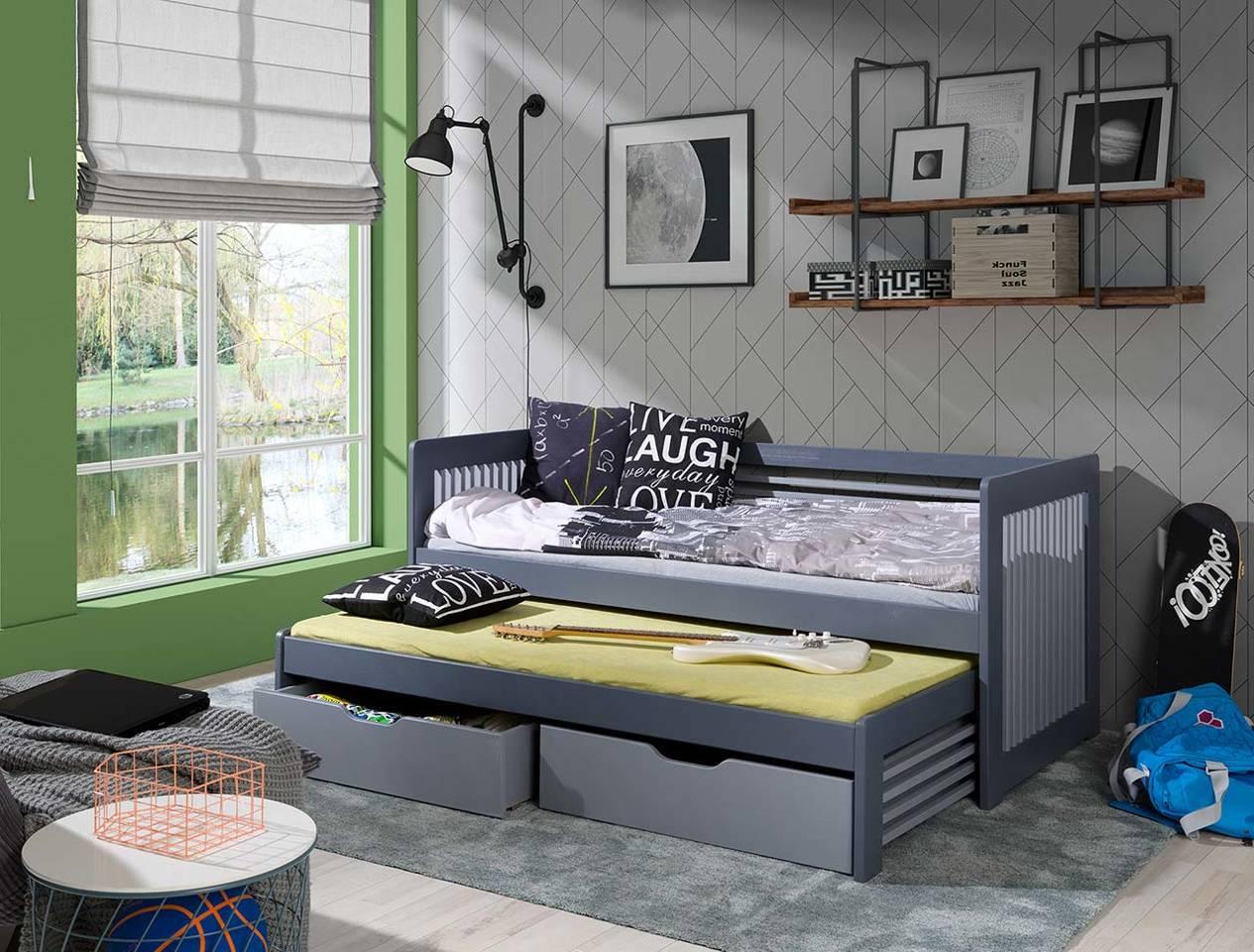 łóżko Piętrowe Niskie Z Materacami 2 Osobowe Anatol Z Barierką