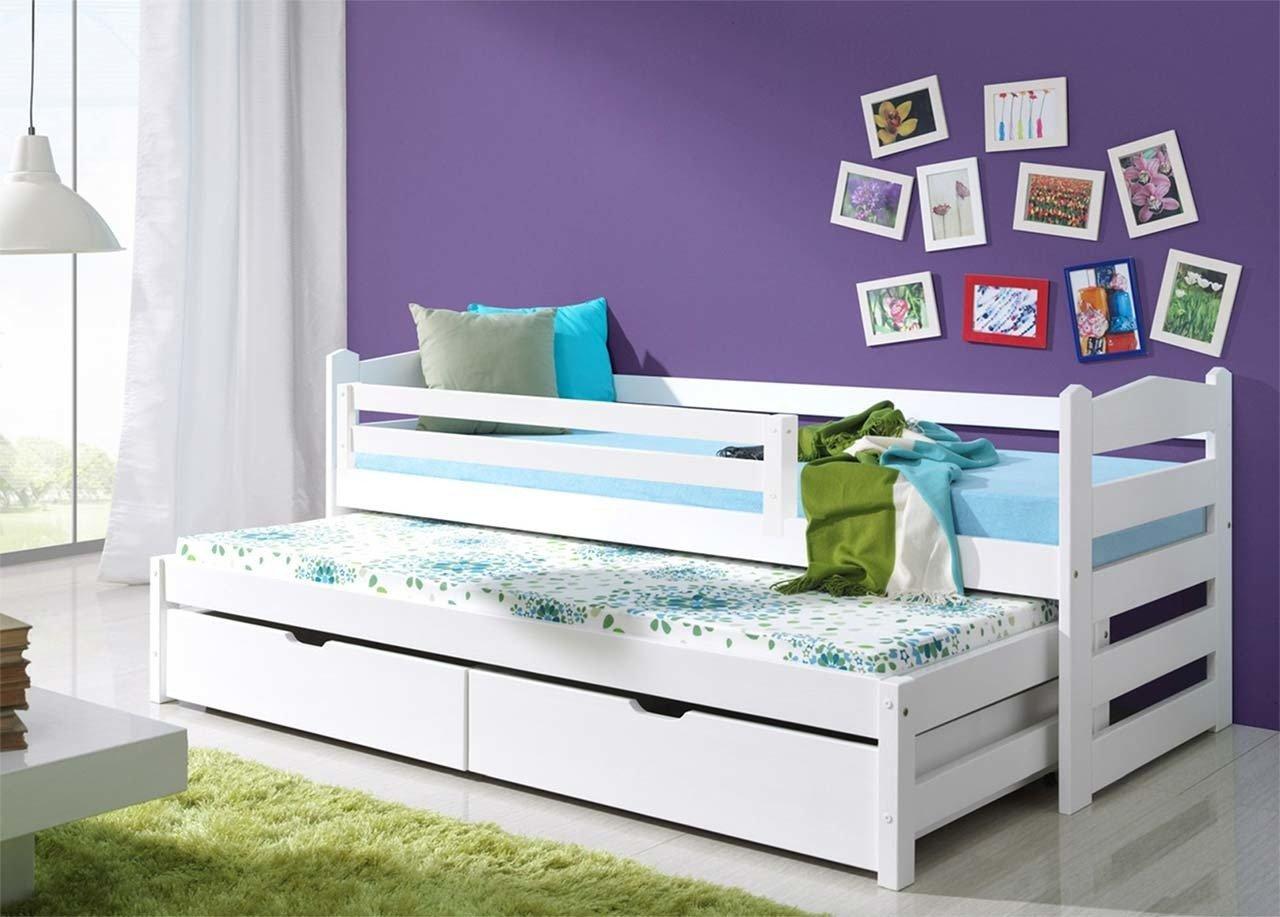 łóżko Z Barierką Mili 2 Osobowe Do Pokoju Dziecka Z Materacem