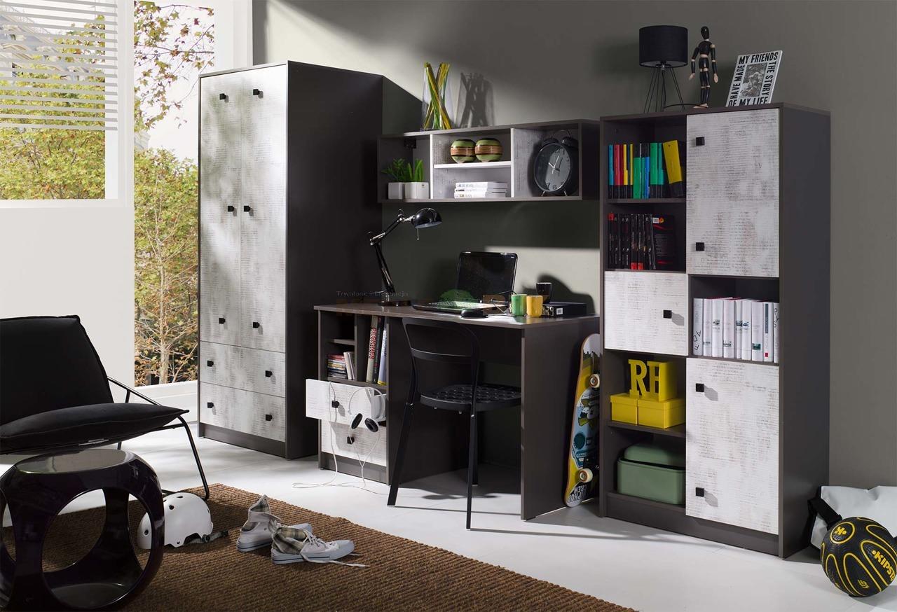 W Mega Meblościanka młodzieżowa z biurkiem - JUREK - sklep meblowy Meble BIK FT43