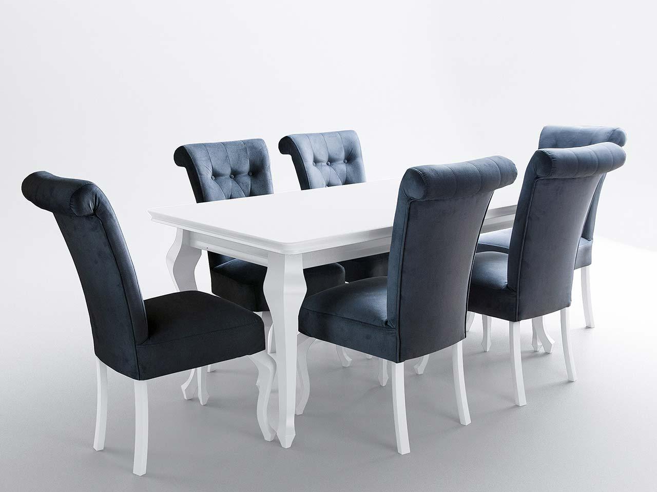 Stół Biały Połysk Z Krzesłami Do Jadalni Lub Salonu Ludwik
