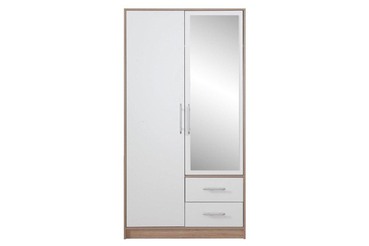 Szafa Smart 3 Z Lustrem Do Przedpokoju 2 Drzwiowa Z Szufladami Dąb Sonoma Biały Lux